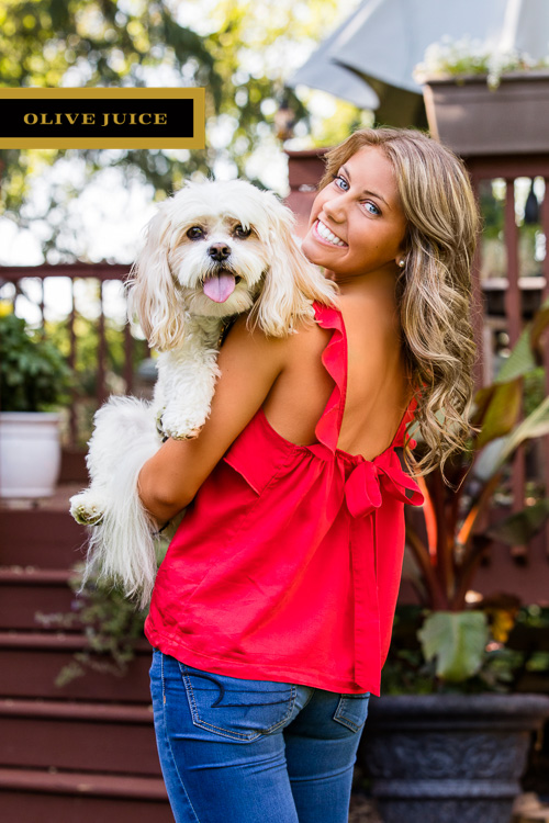 Senior girl photograph with dog | Olive Juice Studios -